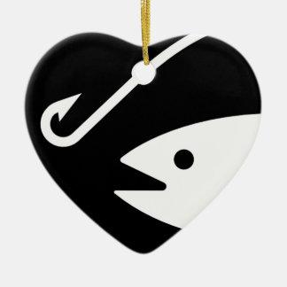 白黒魚の頭部およびホック- セラミックオーナメント