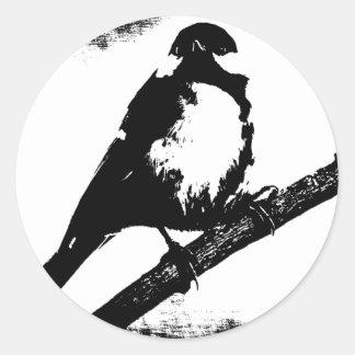 白黒鳥のイメージ ラウンドシール