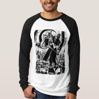 白黒黒いランタン隊のパネル- Tシャツ