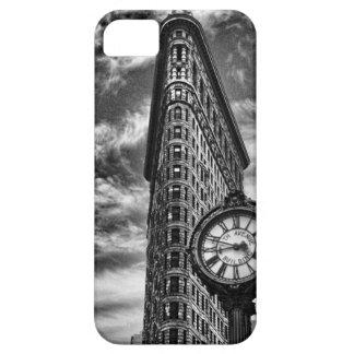 白黒1C2のFlatironの建物そして時計 iPhone SE/5/5s ケース