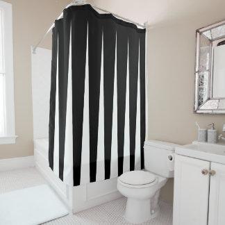 白黒2つの調子のプリーツの錯覚 シャワーカーテン