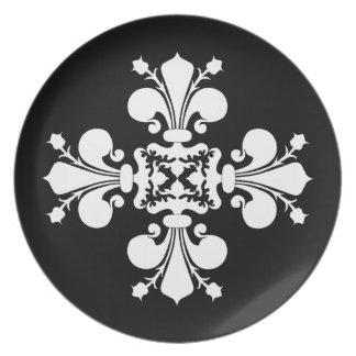 白黒|の(紋章の)フラ・ダ・リ プレート
