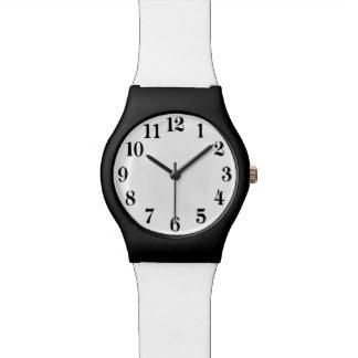 白黒、シンプルおよびエレガント 腕時計
