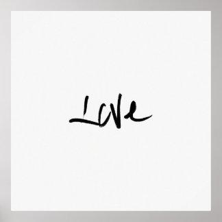 """白黒""""愛""""タイポグラフィ ポスター"""