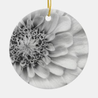 白黒《植物》百日草 陶器製丸型オーナメント