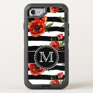 白黒、赤いケシ、モノグラムのな花柄 オッターボックスディフェンダーiPhone 7 ケース