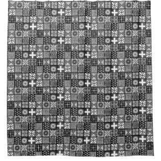 白黒Adireパターン- シャワーカーテン