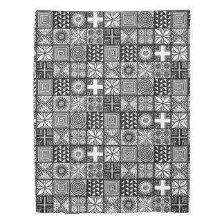 白黒Adireパターン- 掛け布団カバー