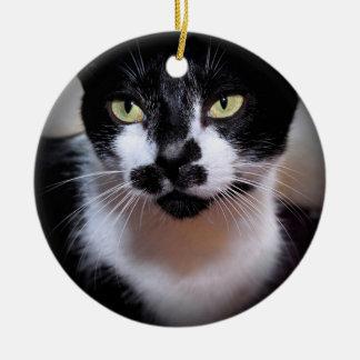 白黒CATのオーナメント セラミックオーナメント