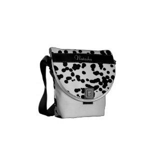 白黒Dalmatian点 メッセンジャーバッグ