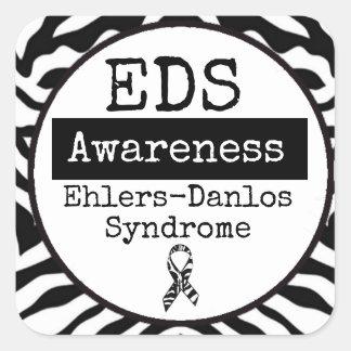 白黒Ehlers-DanlosシンドロームEDSのステッカー スクエアシール