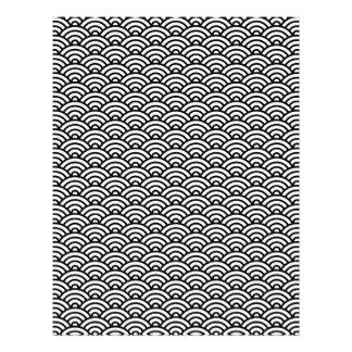白黒Japaneeseの波のスクラップブックの紙 レターヘッド