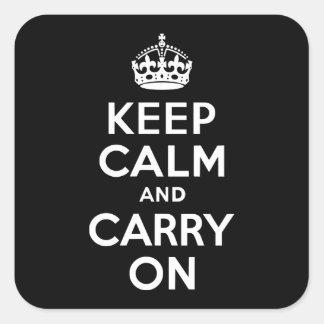 白黒Keep Calm and Carry On スクエアシール