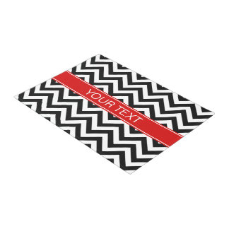 白黒LGシェブロンの赤い一流のモノグラム ドアマット