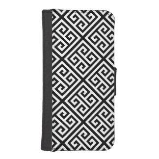 白黒Medのギリシャ人の鍵のDiag Tパターン#1 iPhoneSE/5/5sウォレットケース