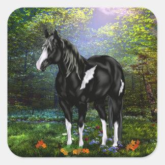 白黒Overoのペンキの馬 スクエアシール