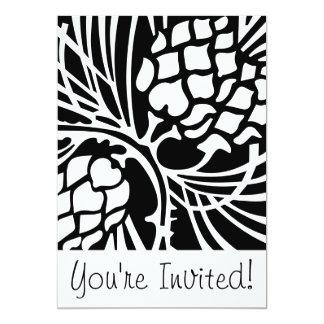 白黒Pineconeの休日の招待状 カード