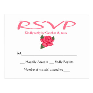 白黒RSVPのハートの結婚披露宴の応答 ポストカード