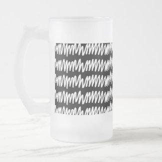 白黒squiggleパターン フロストグラスビールジョッキ