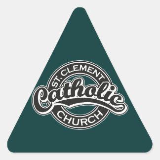 白黒St Clementのカトリック教会 三角形シール