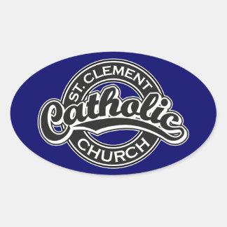 白黒St Clementのカトリック教会 楕円形シール