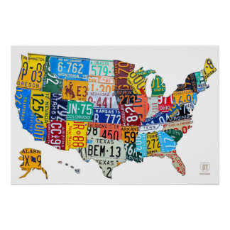 白2014年の米国のナンバープレートの地図 ポスター