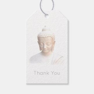 白|の落ち着いた冥想的の仏は感謝していしています ギフトタグ