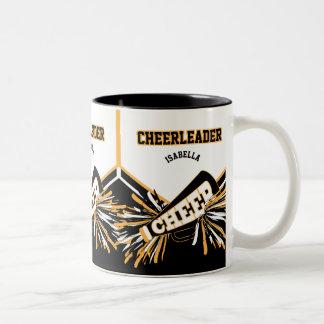 白、金ゴールドおよび黒のチアリーダー ツートーンマグカップ