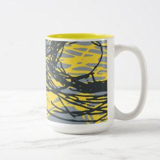 白、黄色および灰色の抽象デザイン ツートーンマグカップ