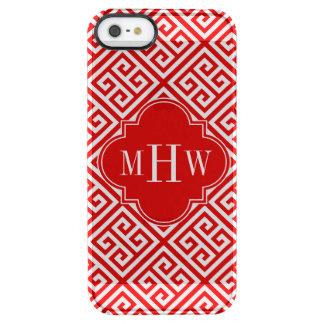 白Medのギリシャ人の鍵のDiag赤いTの赤い一流のモノグラム クリア iPhone SE/5/5sケース