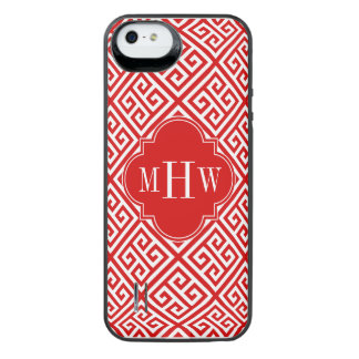 白Medのギリシャ人の鍵のDiag赤いTの赤い一流のモノグラム iPhone SE/5/5sバッテリーケース