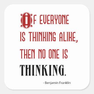 皆が同様に考えれば-ベンフランクリンの引用文 スクエアシール