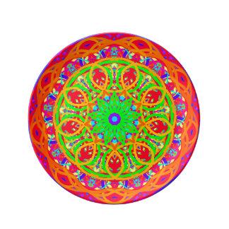 皆はオレンジ曼荼羅の磁器皿を招待されました 磁器プレート