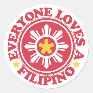 皆はフィリピン人-赤--を愛します 丸形シール・ステッカー