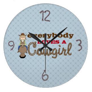 皆は女性のカーボーイの子供の時計を愛します ラージ壁時計