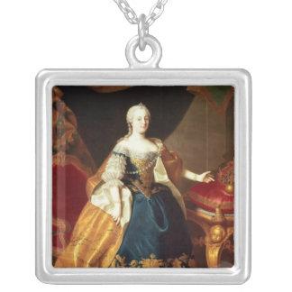 皇后マリアTheresaのポートレート シルバープレートネックレス
