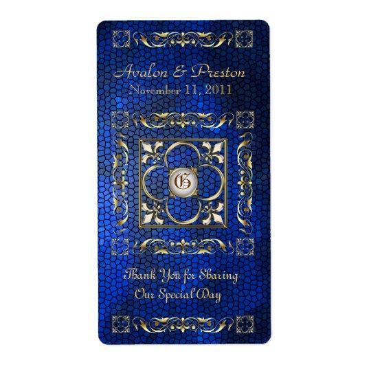 皇帝の青のステンドグラスのワインの結婚式のラベル ラベル