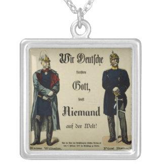 皇帝ウィルヘルムIおよび王子ビスマルク シルバープレートネックレス