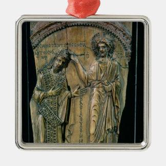 皇帝コンスタンチーヌVIIを戴冠させているキリスト メタルオーナメント