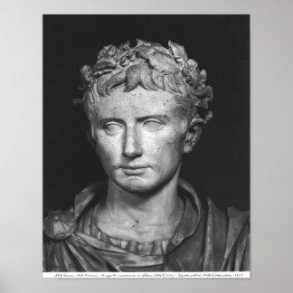 皇帝Augustusの頭部 ポスター