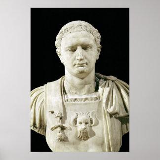 皇帝Domitianのバスト ポスター