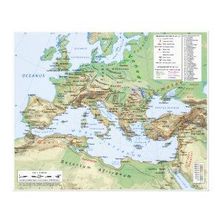 皇帝Hadrianの統治の間のローマ帝国の地図 キャンバスプリント