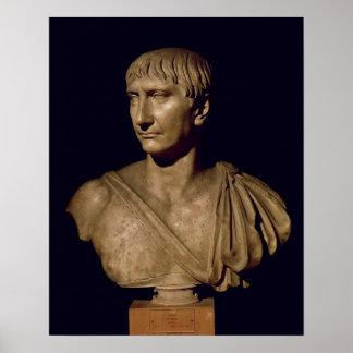 皇帝Trajanのポートレートのバスト ポスター