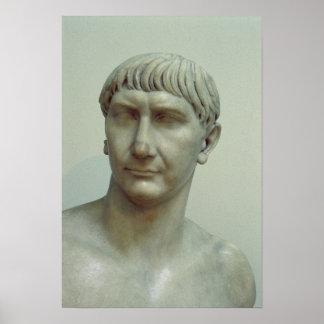 皇帝Trajanのポートレート ポスター
