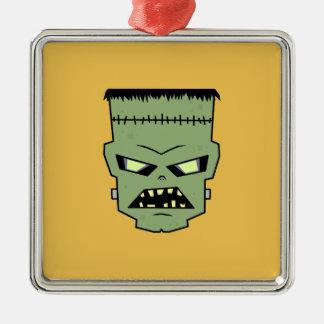 皮のフランケンシュタインの緑の頭部 シルバーカラー正方形オーナメント