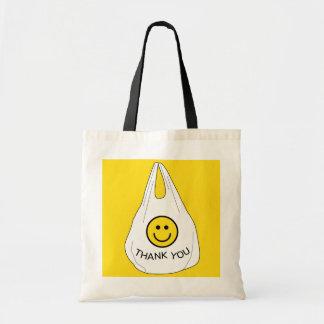皮肉なプラスチックスマイリーフェイスはバッグのトート感謝していしています トートバッグ