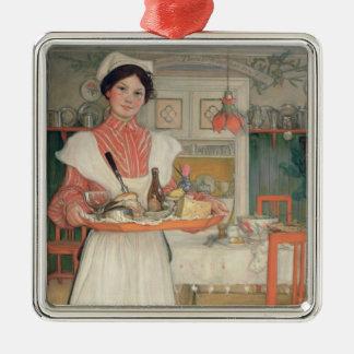 皿の朝食、1904年を運んでいるマルチナ メタルオーナメント