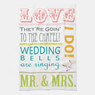 皿タオルを結婚するカラフルなタイポグラフィ キッチンタオル