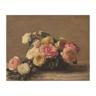 皿1882年のバラ ウッドウォールアート