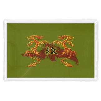皿2のドラゴン、火、勇敢な中国のな記号 アクリルトレー